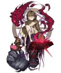 1girl angelic_alphabet barefoot blonde_hair book briar_rose_(sinoalice) closed_eyes coat crystal frills full_body giant_hand hood hood_up hooded_coat ji_no official_art oversized_clothes sinoalice sleeping sleeves_past_wrists smoke solo stuffed_toy tattoo thorns tiger torn_clothes transparent_background wheel wide_sleeves