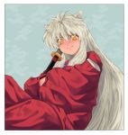 1boy animal_ears blue_background crossed_arms dog_ears inuyasha inuyasha_(character) japanese_clothes long_hair looking_at_viewer male_focus sheath sheathed simple_background sitting sword very_long_hair weapon white_hair wide_sleeves yellow_eyes