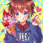 1boy :p blue_eyes blush brown_hair earphones earphones eyebrows_visible_through_hair food food_on_face fruit hair_between_eyes heart highres hood hoodie ice_cream ice_cream_cone ice_cream_on_face looking_at_viewer male_focus original plaid plaid_shirt pocky shirt solo spoon strawberry tongue tongue_out utsunomiya_hetaru