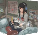 1girl alarm_clock alternate_costume bangs bed black_hair blanket blunt_bangs bookshelf brown_eyes calendar_(object) clock clothes_writing expressionless failure_penguin game_console grey_shirt handheld_game_console hatsuyuki_(kantai_collection) headphones hime_cut jitome kantai_collection long_hair long_sleeves miss_cloud nintendo_switch on_bed pants pants_under_skirt photo_(object) pillow shirt sitting sitting_on_bed solo tara_reba track_pants