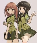 2girls bangs black_hair blunt_bangs blush book braid breasts brown_eyes brown_hair commentary_request eyebrows_visible_through_hair green_neckwear green_sailor_collar green_serafuku green_skirt grey_background hair_over_shoulder kantai_collection kitakami_(kantai_collection) large_breasts long_hair monaka_ooji multiple_girls neckerchief ooi_(kantai_collection) panties panty_peek pleated_skirt sailor_collar school_uniform serafuku short_sleeves sidelocks simple_background single_braid skirt underwear white_panties