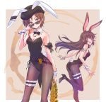 2girls :d absurdres animal_ears arm_garter ass ass_visible_through_thighs bare_shoulders beret bow bowtie breasts brown_eyes brown_hair brown_legwear bunny_tail bunnysuit coattails coco_adel contrapposto detached_collar fishnet_pantyhose fishnets hat highres iesupa jewelry leg_garter leotard long_hair looking_at_viewer multiple_girls necklace open_mouth pantyhose rabbit_ears rwby short_hair small_breasts smile standing standing_on_one_leg sunglasses tail velvet_scarlatina wrist_cuffs