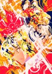 1girl abstract abstract_background face hair_ornament hakkasame multicolored_hair profile streaked_hair tiger toramaru_shou touhou two-tone_hair yellow_eyes