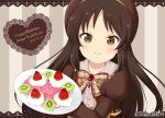 >:) 1girl bangs blush bow brown_bow brown_dress brown_eyes brown_hair center_frills character_name closed_mouth collared_shirt commentary_request dated dress eyebrows_visible_through_hair food happy_birthday heart idolmaster idolmaster_cinderella_girls juliet_sleeves lace_border long_hair long_sleeves miicha parted_bangs plate puffy_sleeves shirt smile solo striped striped_background tachibana_arisu twitter_username v-shaped_eyebrows vertical-striped_background vertical_stripes white_shirt