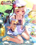 1girl blonde_hair blush brown_footwear bucchake_(asami) dress food footwear_removed hand_to_own_mouth hat jar knees_together_feet_apart koihime_musou looking_at_viewer official_art open_mouth outdoors picnic picnic_basket pink_eyes plate shoes shokatsuryou short_dress short_hair sitting smile socks solo towel white_dress white_headwear yellow_footwear