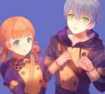 1boy 1girl annette_fantine_dominique ashe_duran blue_background blue_eyes closed_mouth fire_emblem fire_emblem:_three_houses freckles green_eyes grey_hair hood hood_down jurge long_sleeves orange_hair parted_lips short_hair simple_background smile twintails uniform upper_body