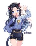 1girl :d animal_ears arm_up bangs black_hair black_neckwear black_shorts blue_eyes blue_shirt blush cat_ears cat_girl cat_tail collared_shirt commentary_request commission eyebrows_visible_through_hair forehead hand_on_hip head_tilt korean_commentary korean_text long_hair long_sleeves looking_at_viewer mechuragi necktie open_mouth original parted_bangs puffy_long_sleeves puffy_sleeves shirt short_shorts shorts simple_background smile solo tail thigh_gap very_long_hair white_background