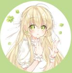 1girl ahoge bangs blonde_hair closed_mouth earrings eyebrows_visible_through_hair fingernails green_eyes green_nails hair_between_eyes hair_ribbon hands_up jewelry long_hair looking_at_viewer nail_polish original pingo puffy_short_sleeves puffy_sleeves ribbon shirt short_sleeves smile solo upper_body white_background white_ribbon white_shirt wrist_cuffs x-ray