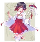 1girl absurdres adapted_object alternate_costume black_hair crescent_rose dress eyebrows_visible_through_hair feet_out_of_frame frilled_dress frills gradient_hair grey_eyes highres holding holding_scythe holding_weapon iesupa japanese_clothes looking_at_viewer messy_hair miko multicolored_hair red_ribbon redhead ribbon ruby_rose rwby scythe shinto short_hair smile solo thigh-highs two-tone_hair weapon white_legwear