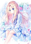 1girl bird_wings blonde_hair blue_eyes blurry blush commentary_request depth_of_field dress feathered_wings firo_(tate_no_yuusha_no_nariagari) floral_background flower highres long_hair looking_at_viewer petals rose satou_(3366_s) sitting solo tate_no_yuusha_no_nariagari white_dress white_wings wind wings