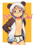 1boy :3 bandaid bandaid_on_nose blonde_hair blush briefs edging_briefs english_text green_eyes hands_in_pockets hood hoodie looking_at_viewer male_focus navel nipples oginy original panda_hood solo thick_eyebrows underwear