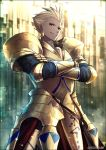 1boy armor blonde_hair breastplate crossed_arms crotch_plate earrings fate/grand_order fate_(series) faulds gauntlets gilgamesh gold_armor gold_earrings jewelry kei-suwabe looking_at_viewer pauldrons red_eyes short_hair smirk solo standing twitter_username