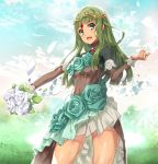 1girl :d bouquet character_request commentary_request engage_princess flower green_eyes green_hair jewelry long_hair looking_at_viewer nyoro_(nyoronyoro000) open_mouth petals rose smile solo tiara white_flower white_rose wind