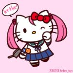 1girl adapted_turret artist_name badge blue_sailor_collar blue_skirt bow cat commentary_request cosplay dated full_body hair_bobbles hair_bow hair_ornament hello_kitty hello_kitty_(character) kantai_collection no_mouth one_eye_closed pink_background pink_hair pleated_skirt red_bow sailor_collar sazanami_(kantai_collection) sazanami_(kantai_collection)_(cosplay) school_uniform serafuku short_hair simple_background skirt solo tasogare_yanio twintails