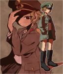 1girl adjusting_headwear artist_name black_bow black_footwear black_neckwear blonde_hair boots bow brown_eyes brown_jacket closed_mouth commentary erwin_(girls_und_panzer) girls_und_panzer goggles goggles_on_headwear green_headwear half-closed_eyes hands_in_pockets hat jacket long_sleeves looking_at_viewer military_hat military_jacket multiple_views ooarai_school_uniform open_clothes open_jacket peaked_cap pointy_hair school_uniform short_hair signature smile solo standing tessaku_ro