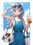 1girl 404_logo_(girls_frontline) absurdres adjusting_eyewear bag bangs belt blue_dress blunt_bangs blush breasts bubble_blowing bubble_tea buckle character_name cowboy_shot cup disposable_cup dress drinking_straw earrings eyebrows_visible_through_hair facial_mark girls_frontline green_eyes hair_ornament handbag highres hk416_(girls_frontline) holding holding_cup huge_filesize jewelry long_hair looking_at_viewer medium_breasts roti silver_hair single_earring solo sunglasses teardrop very_long_hair watch watch