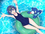 1girl arms_up bare_arms bare_shoulders blue_eyes blue_hair blue_swimsuit breasts collarbone commentary_request eyebrows_visible_through_hair from_above gen_7_pokemon hair_between_eyes hair_ornament hairband highres in_water innertube looking_at_viewer lying navel one-piece_swimsuit pokemon pokemon_(creature) pokemon_(game) pokemon_sm rocha_(aloha_ro_cha) short_hair small_breasts solo suiren_(pokemon) swimsuit water