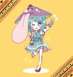 +_+ 1girl aqua_hair aqua_skirt aqua_vest blue_vest frilled_shirt_collar frilled_skirt frilled_sleeves frilled_vest frills geta highres juliet_sleeves karakasa_obake long_sleeves long_tongue one-eyed one_eye_closed puffy_sleeves purple_umbrella red_eyes salt_(seasoning) shirt short_hair skirt solo standing standing_on_one_leg tagme tatara_kogasa tied_sleeves tongue tongue_out touhou umbrella vest white_shirt yellow_background