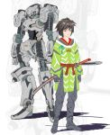 1boy arms_at_sides brown_eyes brown_hair clenched_hand flat_color gloves grey_footwear grey_gloves katana looking_at_viewer male_focus mecha non_(6nezuuyamar9) original robot shadow sheath sheathed simple_background standing sword weapon wide_sleeves zoom_layer