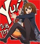 1girl artist_name bangs black_legwear blazer blue_jacket brown_eyes brown_hair character_name commentary dated grey_skirt hair_ornament hairclip hirasawa_yui holding holding_instrument instrument jacket k-on! long_sleeves looking_at_viewer miniskirt open_mouth outline panties panties_under_pantyhose pantyhose pleated_skirt red_background sakuragaoka_high_school_uniform school_uniform short_hair signature sitting skirt smile solo tessaku_ro underwear v white_outline