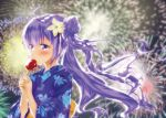 1girl absurdres ahoge azur_lane blurry blush candy_apple commentary_request depth_of_field eating fireworks flower food hair_bun hair_flower hair_ornament highres holding japanese_clothes kimono long_hair looking_away one_side_up purple_hair side_bun solo unicorn_(azur_lane) violet_eyes wakamoto_riwo wind yukata