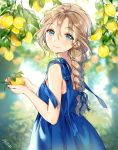 1girl ancotaku backlighting bangs bare_arms bare_shoulders blue_dress blue_eyes blue_ribbon blurry blurry_background blush braid brown_hair closed_mouth commentary_request day depth_of_field dress earrings eyebrows_visible_through_hair fingernails food fruit hair_between_eyes hair_ribbon holding holding_food hoop_earrings jewelry lemon long_hair looking_at_viewer looking_to_the_side original outdoors ribbon signature sleeveless sleeveless_dress smile solo