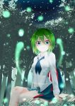 1girl absurdres antennae arm_support bangs black_cape black_neckwear blue_shorts blush breasts cape chinese_commentary commentary_request crossed_legs feet_out_of_frame forest grass green_eyes green_hair hair_between_eyes highres light_particles long_sleeves looking_at_viewer misaki_dizangge nature navel outdoors rock shirt short_hair short_shorts shorts sitting small_breasts solo thighs touhou tree white_shirt wing_collar wriggle_nightbug