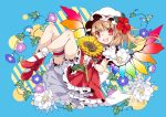 1girl :d bangs blonde_hair bloomers blue_background blue_flower bobby_socks commentary_request dress eyebrows_visible_through_hair fangs flandre_scarlet flower full_body hat hat_flower hibiscus highres knees_up leaf leg_garter long_hair looking_at_viewer mary_janes mob_cap one_side_up open_mouth petticoat puffy_short_sleeves puffy_sleeves purple_flower red_dress red_eyes red_flower red_footwear shirt shoes short_sleeves simple_background smile socks solo sunflower thighs touhou toutenkou underwear white_bloomers white_flower white_headwear white_legwear white_shirt wrist_cuffs