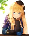 1girl arm_support backlighting bangs beret blonde_hair blue_coat blue_eyes blush bow brown_bow brown_gloves brown_headwear closed_mouth commentary_request eyebrows_visible_through_hair fate_(series) flower gloves hair_bow hair_flower hair_ornament hat head_in_hand light_smile long_hair long_sleeves lord_el-melloi_ii_case_files nasii reines_el-melloi_archisorte revision rose simple_background solo upper_body v-shaped_eyebrows white_background white_flower white_rose