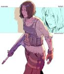 1girl bangs battle_rifle blood bloody_clothes blue_eyes brown_hair commentary commission english_commentary facial_scar far_cry_5 fingerless_gloves flat_chest gloves gun lips load_bearing_vest messy_hair military_operator parted_bangs parted_lips rejean_dubois rifle scar scar_on_cheek short_hair solo torn_clothes walking weapon weapon_request zoom_layer