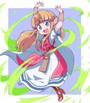 1girl :d arms_up belt blonde_hair blue_eyes blush_stickers bracer brown_footwear cape commentary_request dress earrings eyebrows_visible_through_hair floating_hair full_body gem hair_intakes high_heels highres jewelry long_hair looking_at_viewer nazonazo_(nazonazot) open_mouth pink_belt pointy_ears princess_zelda purple_background shiny shiny_hair short_sleeves sidelocks smile solo tabard the_legend_of_zelda the_legend_of_zelda:_a_link_between_worlds tiara triforce white_cape white_dress wind