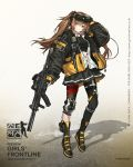 1girl ankle_strap baggy_clothes bangs black_bow black_bra black_gloves black_legwear black_nails black_skirt blush boots bow bra breasts brown_eyes brown_hair character_name cross-laced_footwear eyebrows_visible_through_hair fingerless_gloves floating_hair full_body girls_frontline gloves goggles goggles_on_head grin gun h&k_ump h&k_ump9 hair_between_eyes hair_bow hair_ornament hairclip heckler_&_koch highres holding holding_gun holding_weapon infukun jacket lace-up_boots long_hair looking_at_viewer mod3_(girls_frontline) official_art partially_unbuttoned pouch ribbon scar scar_across_eye shirt sidelocks single_knee_pad single_leg_pantyhose skirt smile sports_bra standing submachine_gun suppressor thigh_strap trigger_discipline twintails ump9_(girls_frontline) underwear walkie-talkie weapon white_shirt
