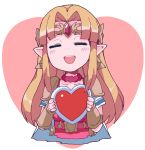 1girl belt blonde_hair blush_stickers box bracer cape closed_eyes cropped_torso cute earrings elf facing_viewer gem gift gift_box hair_intakes heart heart-shaped_box herat_container highres holding holding_gift hylian jewelry long_hair nazonazo_(nazonazot) necklace nintendo nintendo_ead open_mouth pink_belt pointy_ears princess_zelda round_teeth shiny shiny_hair short_sleeves shoulder_armor sidelocks solo spaulders super_smash_bros. tabard teeth the_legend_of_zelda the_legend_of_zelda:_a_link_between_worlds tiara triforce valentine white_cape