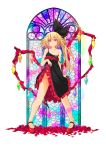 .sin black_dress blonde_hair dress flandre_scarlet flower highres legs_apart lifted_by_self looking_at_viewer mary_janes no_panties red_eyes rose shoes side_ponytail stained_glass touhou wings