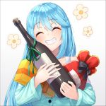 1girl :d ^_^ ^o^ alcohol aqua_(konosuba) bag bangs bare_shoulders blue_hair blue_pajamas blush bottle closed_eyes commentary_request dot_nose eyebrows_visible_through_hair floral_print flower gift grin kono_subarashii_sekai_ni_shukufuku_wo! long_hair open_mouth pajamas pensuke red_bag revision simple_background smile solo upper_body white_background wine_bottle