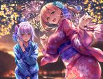 2girls :d aerial_fireworks aqua_eyes ayase_kaya ayase_touka_(piromizu) bangs blonde_hair blue_kimono blurry blurry_background blush breasts brown_eyes collarbone dutch_angle eyebrows_visible_through_hair fanbox_reward fingernails fireworks floral_print flower hair_between_eyes hair_flower hair_ornament hand_on_own_chest hands_up highres japanese_clothes kimono large_breasts long_fingernails long_hair long_sleeves looking_at_viewer multiple_girls nail_polish night night_sky obi open_mouth original outdoors paid_reward pink_kimono pink_nails piromizu pov purple_hair sash sidelocks sky smile teeth upper_teeth wide_sleeves yukata