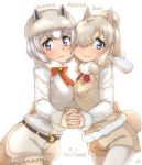 2girls alpaca_ears alpaca_huacaya_(kemono_friends) alpaca_suri_(kemono_friends) alpaca_tail animal_ears arm_around_waist artist_logo bangs bell belt blonde_hair blue_eyes bow bowtie breast_pocket breast_press breasts character_name closed_mouth commentary_request cowboy_shot dated ears_through_headwear eyebrows_visible_through_hair fur-trimmed_sleeves fur_collar fur_scarf fur_trim furrowed_eyebrows grey_hair hair_bun hair_over_one_eye hand_on_another's_back hat highres holding_hands horizontal_pupils interlocked_fingers kemono_friends leaning_forward legwear_under_shorts lips long_sleeves looking_at_viewer medium_hair multiple_girls neck_ribbon pantyhose parted_bangs pocket ribbon scarf shirt short_hair shorts sidelocks simple_background smile sweater_vest symmetrical_docking tail thin_(suzuneya) violet_eyes white_background white_shirt