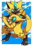 1other :< animal_ears artist_name blue_background blue_eyes border cat_ears cat_tail claws closed_mouth commentary_request creatures_(company) fighting_stance full_body furry game_freak gen_7_pokemon jpeg_artifacts legendary_pokemon makotou nintendo no_humans olm_digital pawpads paws pokemon pokemon_(anime) pokemon_(creature) pokemon_(game) pokemon_usum signature simple_background solo standing tail whiskers white_border zeraora