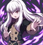 1girl absurdres bangs black_dress dress epaulettes eyebrows_visible_through_hair fire_emblem fire_emblem:_three_houses floating_hair hair_between_eyes hand_up highres jacket long_hair long_sleeves looking_at_viewer lysithea_von_cordelia magic nazonazo_(nazonazot) open_mouth outstretched_arm outstretched_arms pink_eyes reaching_out sidelocks simple_background solo uniform upper_body v-shaped_eyebrows white_hair