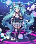 1girl aqua_eyes aqua_hair argyle argyle_legwear bare_shoulders black_legwear breasts chyoling cube dot_nose eyebrows_visible_through_hair facial_tattoo feet_together full_body gloves grey_legwear hands_up hatsune_miku highres holding_microphone_stand legs long_hair looking_at_viewer magical_mirai_(vocaloid) mismatched_legwear neon_trim number_tattoo open_mouth raised_eyebrows shoulder_tattoo skirt slim_legs solo star striped striped_legwear tattoo thigh-highs thigh_gap twintails vertical-striped_legwear vertical_stripes very_long_hair vocaloid white_gloves white_skirt