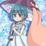 1girl absurdres aqua_hair aqua_vest artist_request blue_eyes earrings frilled_shirt_collar frilled_sleeves frills heterochromia highres jewelry karakasa_obake long_tongue one-eyed purple_umbrella red_eyes salt_(seasoning) short_hair skirt sleeveless solo tagme tatara_kogasa tongue touhou umbrella vest