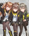 3girls akabane_hibame bangs black_legwear blush boots breasts brown_eyes brown_hair cross-laced_footwear dress eyebrows_visible_through_hair fingerless_gloves girls_frontline gloves grey_dress grey_hair hair_between_eyes hair_ornament hairclip highres jacket lace-up_boots long_hair looking_at_viewer multiple_girls one_side_up open_mouth pantyhose ribbon scar scar_across_eye shirt short_dress sitting skirt smile twintails ump40_(girls_frontline) ump45_(girls_frontline) ump9_(girls_frontline) v white_shirt yellow_eyes zipper