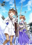 2girls afloat aircraft arrow black_legwear blue_sky blurry bow_(weapon) brown_eyes brown_hair clouds cloudy_sky commentary_request depth_of_field flight_deck gloves hakama hat helicopter highres holding holding_weapon japanese_clothes kaga_(jmsdf) kaga_(kantai_collection) kantai_collection long_hair machinery mashiro_aa military military_hat military_rank_insignia military_uniform military_vehicle multiple_girls muneate namesake navy necktie ocean open_mouth original pantyhose parted_lips ponytail quiver side_ponytail sky tasuki uniform weapon white_gloves yumi_(bow)