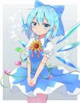 1girl blue_dress blue_eyes blue_hair blush bow cirno commentary_request cowboy_shot dress eyebrows_visible_through_hair flower gradient gradient_background grey_background hair_between_eyes hair_bow hands_clasped highres interlocked_fingers iyo_(ya_na_kanji) looking_at_viewer morning_glory own_hands_together pinafore_dress plant puffy_short_sleeves puffy_sleeves shirt short_hair short_sleeves smile solo standing sunflower tanned_cirno touhou v_arms vines white_shirt wing_collar wings