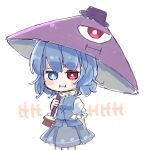 1girl blue_eyes blue_hair blue_vest heterochromia highres karakasa_obake one-eyed pout purple_umbrella red_eyes salt_(seasoning) short_hair simple_background solo tagme tatara_kogasa touhou umbrella vest