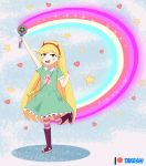 1girl :d absurdres arms_up bag blonde_hair blue_eyes boots demon_horns dress full_body green_dress hairband handbag heart heart_cheeks highres horns huge_filesize long_hair open_mouth rainbow skirt smile standing star star_butterfly star_vs_the_forces_of_evil striped striped_legwear takeshi~ teeth wand
