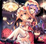 2girls :d alternate_costume ass bangs bat bat_wings black_dress black_footwear black_legwear blonde_hair blush bow chandelier commentary_request couch crystal dress eyebrows_visible_through_hair fangs fangs_out flandre_scarlet flower hair_between_eyes hat hat_bow hat_flower high_heels holding holding_stuffed_animal hug hug_from_behind indoors kirero kneeling lavender_hair leaf light_particles long_hair looking_at_viewer mary_janes miniskirt mob_cap multiple_girls one_side_up open_mouth panties pantyshot pantyshot_(sitting) petticoat pink_headwear pointy_ears puffy_short_sleeves puffy_sleeves purple_bow railing red_bow red_flower red_footwear red_rose red_sash red_skirt red_vest remilia_scarlet rose sash shirt shoes short_dress short_sleeves siblings sidelocks sisters sitting skirt skirt_set smile stuffed_animal stuffed_toy teddy_bear thigh-highs thighs touhou underwear vest white_headwear white_panties white_shirt wings yellow_flower yellow_rose