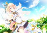 1girl arms_behind_back blonde_hair blue_sky blurry bouquet character_request clouds cloudy_sky commentary_request crown depth_of_field earrings flower jewelry looking_away mini_crown mocha_(naturefour) petals rose shironeko_project short_hair sky smile solo veil violet_eyes