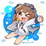 1girl barefoot black_swimsuit brown_eyes brown_hair chibi commentary_request full_body hood hooded_jacket hoodie ikea_shark jacket kantai_collection looking_at_viewer one_eye_closed open_mouth round_teeth same_anko school_swimsuit shark short_hair smile solo stuffed_animal stuffed_shark stuffed_toy swimsuit teeth upper_teeth white_jacket yukikaze_(kantai_collection)