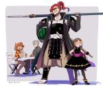 2boys 2girls asaya_minoru bangs bare_shoulders baseball_cap bendy_straw black_footwear black_gloves black_kimono boots brown-tinted_eyewear brown_eyes brown_hair brown_hairband brown_legwear brown_pants bubble_blowing carrying_under_arm chacha_(fate/grand_order) chair character_request chewing_gum crop_top cup drink drinking_glass drinking_straw fate/grand_order fate_(series) food fruit fujimaru_ritsuka_(female) gloves grey_background grey_hair grin hair_between_eyes hair_ornament hair_over_one_eye hair_scrunchie hairband hakama_pants hat high_ponytail holding holding_baseball_bat holding_weapon japanese_clothes katana kimono kimono_skirt koha-ace long_hair midriff mori_nagayoshi_(fate) multiple_boys multiple_girls on_chair orange-tinted_eyewear orange_shirt over_shoulder pants pantyhose parted_bangs ponytail red_scrunchie redhead sandals scrunchie sharp_teeth sheath sheathed shirt short_shorts shorts sitting sleeveless sleeveless_kimono smile sunglasses sword table tan teeth twitter_username two-tone_background very_long_hair watermelon weapon weapon_over_shoulder white-framed_eyewear white_background white_footwear white_shorts